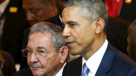 Cuba's President Raul Castro (L) stands with his U.S. counterpart Barack Obama before the inauguration of the VII Summit of the Americas in Panama City April 10, 2015.  REUTERS/Peru Presidency/Handout via Reuters   ATTENTION EDITORS - THIS PICTURE WAS PROVIDED BY A THIRD PARTY. REUTERS IS UNABLE TO INDEPENDENTLY VERIFY THE AUTHENTICITY, CONTENT, LOCATION OR DATE OF THIS IMAGE. FOR EDITORIAL USE ONLY. NOT FOR SALE FOR MARKETING OR ADVERTISING CAMPAIGNS. THIS PICTURE WAS PROCESSED BY REUTERS TO ENHANCE QUALITY. AN UNPROCESSED VERSION WILL BE PROVIDED SEPARATELY.        TPX IMAGES OF THE DAY      - RTR4WVKU